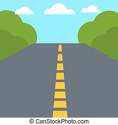 płaski, road., barwny, wektor, projektować, opróżniać
