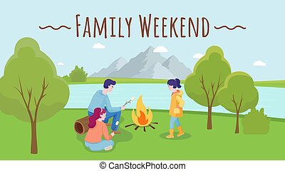 płaski, rodzinny piknik, spędzając, czas, wektor, illustration., jezioro, razem, natura, lato, na wolnym powietrzu