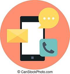 płaski, ruchome zakomunikowanie, temat, wektor, telefon, styl, barwny, ikona