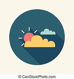 płaski, słońce, długi, cień, chmura, ikona