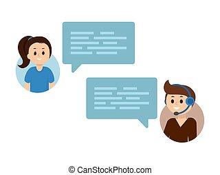 płaski, służba, ludzie, poparcie, komunikacja, wektor, online, chating, online., dialog, concept., pogawędka