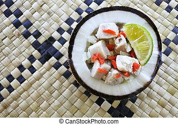 płaski, salad), kokoda, ryba jadło, (raw, fidżyjczyk, pieśń,...