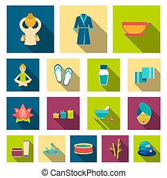 płaski, salon, komplet, illustration., ikony, symbol, zbiór, bitmapa, wyposażenie, odpoczynek, złagodzenie, zdrój, sieć, design., pień