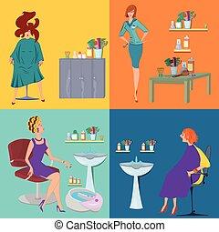 płaski, salon, piękno, ludzie, klientela, zdrój