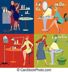 płaski, salon, piękno, ludzie, pracownicy, zdrój