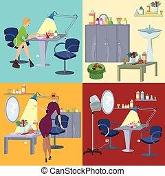 płaski, salon, piękno, ludzie, zdrój, meble