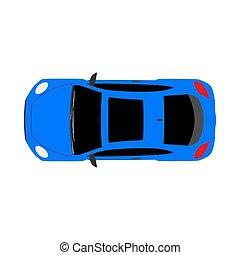 płaski, samochód, górny, odizolowany, wektor, wóz, biały, prospekt, ikona