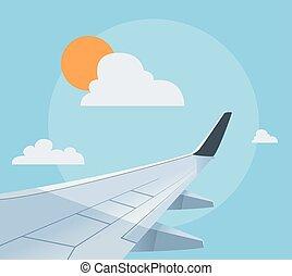 płaski, samolot, ilustracja