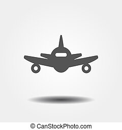 płaski, samolot, szary, ikona