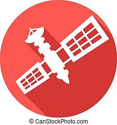 płaski, satelita, ikona