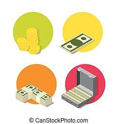 płaski, set., ikona, handlowa bankowość