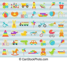 płaski, set., ilustracja, wektor, zabawki, niemowlę, majchry, design.