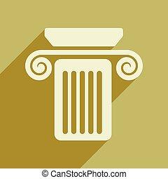 płaski, sieć, ikona, z, długi, cień, kolumna