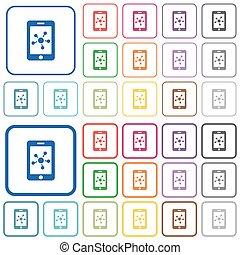 płaski, sieć, ikony, ruchomy, konturowany, kolor, towarzyski