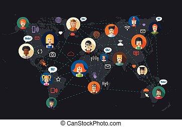 płaski, sieć, ludzie, nowoczesny, communi, ilustracja, projektować, towarzyski