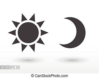 płaski, sieć, ruchomy, słońce, księżyc, wektor, infographics, logo, icon., projektować