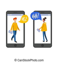 płaski, sieć, znajomość, gaworząc, users., app, online, ...
