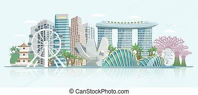 płaski, singapore, afisz, panoramiczny, sylwetka na tle...