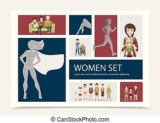 płaski, skład, litery, kobiety
