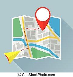 płaski, składany, papier marszruta, mapa, ikona