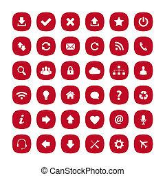 płaski, skwer, zaokrąglony, czerwony, ikony