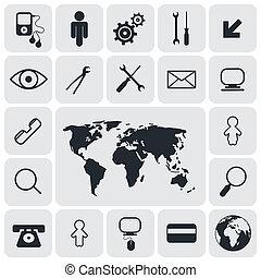 płaski, skwer, zaokrąglony, ikony, wektor, projektować, komplet