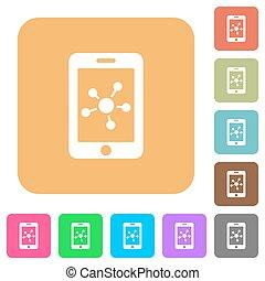płaski, skwer, zaokrąglony, sieć, ikony, ruchomy, towarzyski