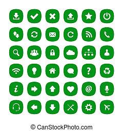 płaski, skwer, zielony, zaokrąglony, ikony