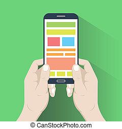 płaski, smartphone, projektować, hands.