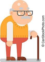 płaski, stary, litera, ilustracja, dziadek, wektor, projektować, rysunek, człowiek