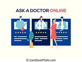 płaski, styl, barwny, doktor, -, ilustracja, projektować, online, pytać