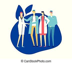 płaski, styl, barwny, medyczny, -, ilustracja, projektować, personel