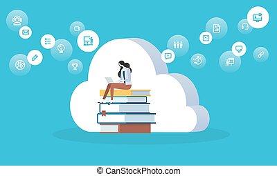 płaski, styl, chmura, sieć, wykształcenie, biblioteka, projektować, cyfrowy, trening, chorągiew, odległość