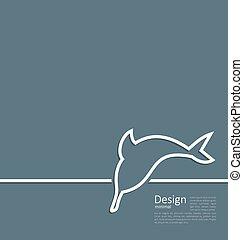 płaski, styl, delfin, logo, kreska, minimalny