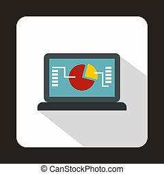 płaski, styl, finansowy, ekran, ikona, dane