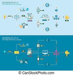 płaski, styl, handlowy, diagram, ruchomy, handel, ikony, analytics., korzystać, praca badawcza, infographic, projekt, ui, reklama, twój, promocja