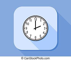 płaski, styl, ikona, analog zegar