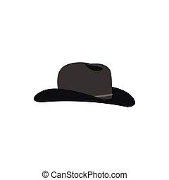 płaski, styl, ikona, kapelusz, kowboj