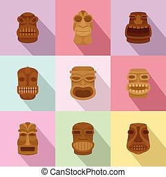 płaski, styl, ikony, komplet, maska, afrykanin