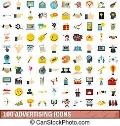płaski, styl, ikony, komplet, reklama, 100