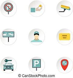 płaski, styl, ikony, komplet, stacja, parking
