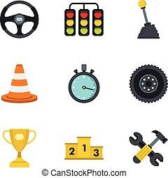 płaski, styl, ikony, komplet, wóz biegi