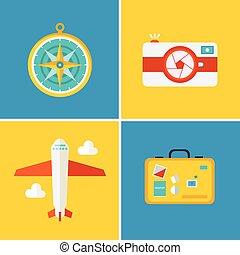 płaski, styl, ikony, podróż, -, urlop, wektor, pojęcia