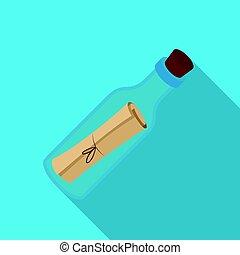 płaski, styl, illustration., ikona, symbol, odizolowany, tło., wektor, butelka, biały, pień, wiadomość, piraci