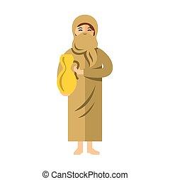 płaski, styl, kobieta, dzbanek, barwny, muslim, wektor, water., rysunek, illustration.