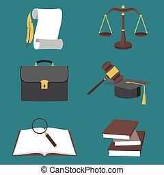 płaski, styl, komplet, barwny, ikony, ilustracja, wektor, prawo