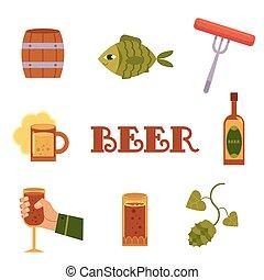 płaski, styl, komplet, barwny, ikony, powinowaty, piwo