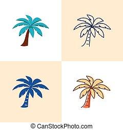 płaski, styl, komplet, drzewo, dłoń, kreska, ikona