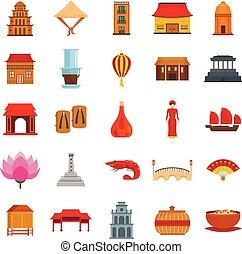 płaski, styl, komplet, ikony, podróż, wietnam, turystyka
