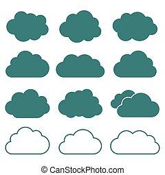 płaski, styl, komplet, ikony, wektor, chmura